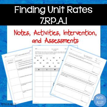Finding Unit Rates (7.RP.A.1): Notes, Activities & Assessments