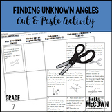 Finding Unknown Angles Cut & Paste Activity
