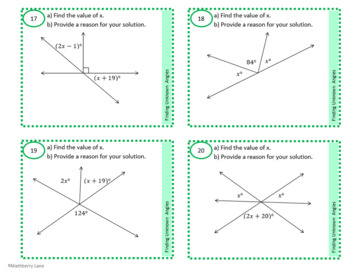 Finding Unknown Angles Geometry Task Cards Parallel Lines Triangles for Practice