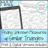 Finding Unknown Measures in Similar Triangles Maze Worksheet