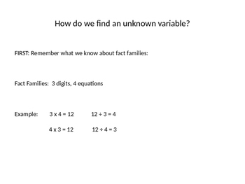 Finding Unknown Variables Using Fact Families PPT 3.OA.4