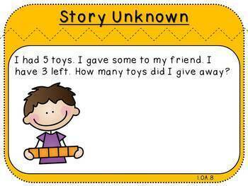 Finding Unknowns-Fact Fluency Pack 8 (First Grade, 1.OA.8)