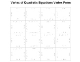 Finding Vertex of Quadratic in Vertex Form Fun Puzzle Activity