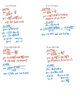 Finding Vertices and X-Intercepts of Parabolas