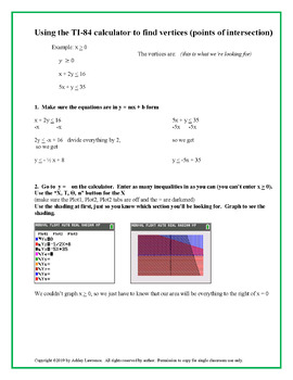 Finding Vertices of Systems of Inequalities using TI-84 Calculator
