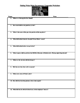 Finding Vivian Maier Documentary Companion Worksheet
