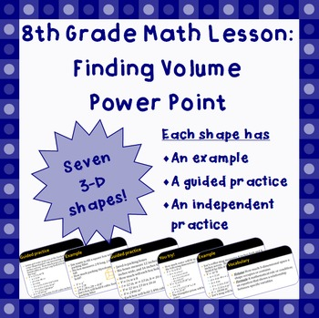 Finding Volume - An 8th Grade Power Point Lesson