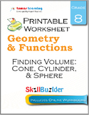 Finding Volume: Cone, Cylinder, & Sphere Printable Worksheet, Grade 8