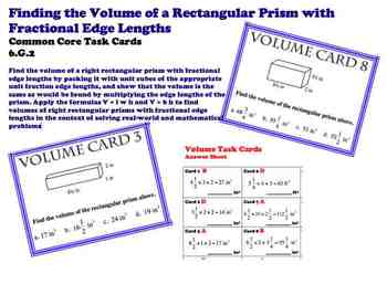 Finding Volume Fractional Edges Common Core 6.G.2 Task Cards