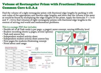 Finding Volume Rectangular Prisms Fractional Dimensions 6G