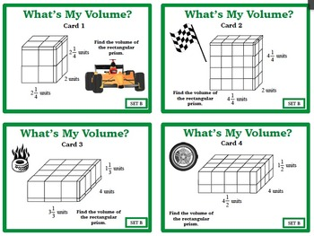 Finding Volume Rectangular Prisms Fractional Dimensions SET TWO 6GA2 Task Cards