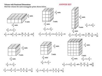 Finding Volume Rectangular Prisms Fractional Dimensions SET TWO 6GA2 Task Cards