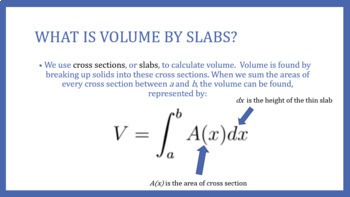 "Finding Volume Using Cross Sections/""Slabs"" PowerPoint"