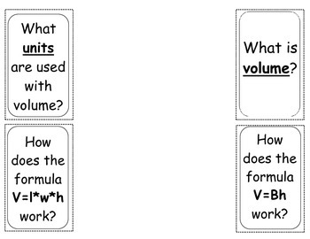 Finding Volume With Formulas Foldable