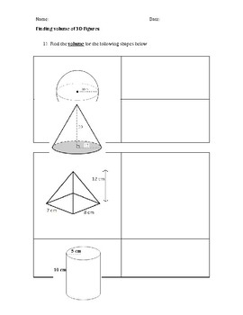 Finding Volume of 3-D Figures Packet