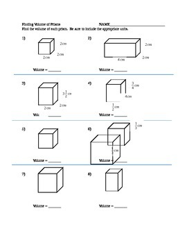 Volume Of Prisms Practice Worksheets & Teaching Resources | TpT