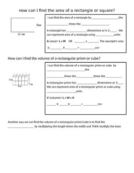 Finding Volume of Rectangular Prism/Cube Anchor Chart