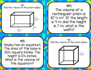 Finding Volume of Rectangular Prisms with Fractional Edges Task Cards