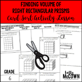 Finding Volume of Right Rectangular Prisms Card Sort Activity Lesson