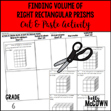 Finding Volume of Right Rectangular Prisms Cut & Paste Activity
