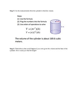 Finding Volume of a Cylinder