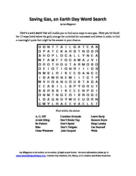 Finding Ways to Save Gas, an Earth Day Word Search