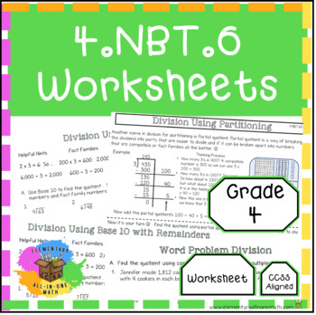Finding Whole-Number Quotients and Remainders - 4.NBT.6 Worksheets