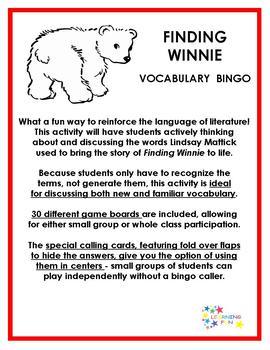 Finding Winnie Vocabulary bingo