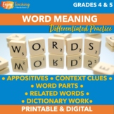 Finding Word Meaning Practice - Appositives, Context, Word Parts & Related Words