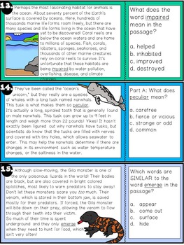 Finding Word Meaning Using Context Clues TASK CARDS: ANIMAL EDITION