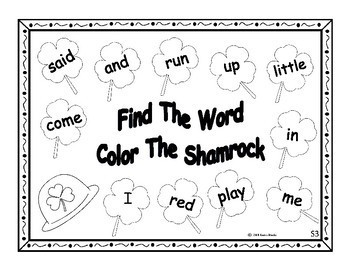Finding Words In The Shamrocks - Pre-Primer High Frequency Word List