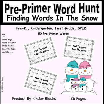 Finding Words In The Snow - Pre-Primer High Frequency Word List