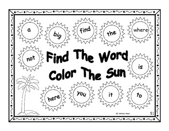 Finding Words In The Sunshine-Pre-Prim High Frequency Words