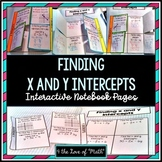 Finding X and Y Intercepts: Interactive Notebook Page