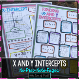 Finding X and Y Intercepts No Prep Note Pages