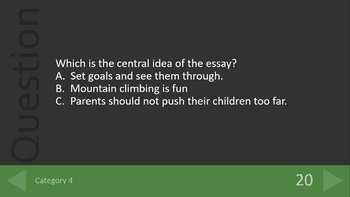 Finding Your Everest Review Game 7th grade HMH Collections Close Reader WB