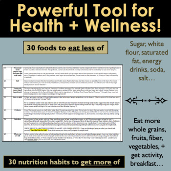 Health Lesson: How to Get Healthy!  60-Question Personal Wellness Assessment