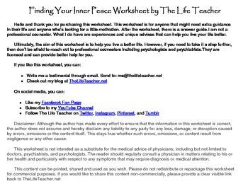 Finding Your Inner Peace Worksheet