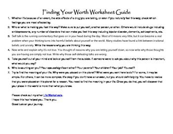 Finding Your Worth Worksheet