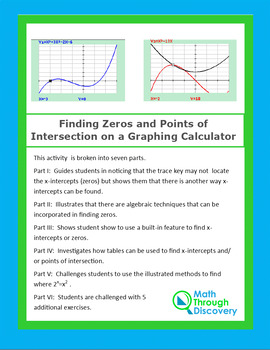 Algebra:  Finding Zeros and Points of Intersection on a Graphing Calculator