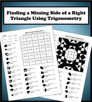 Finding a Missing Side Using Right Triangle Trigonometry Color Worksheet