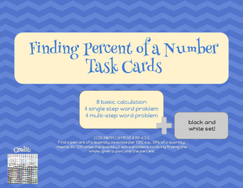 Finding a Percent of a Whole Number Task Cards