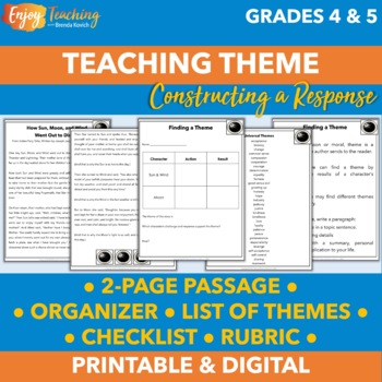 finding a theme free lesson plans for fourth grade and fifth grade