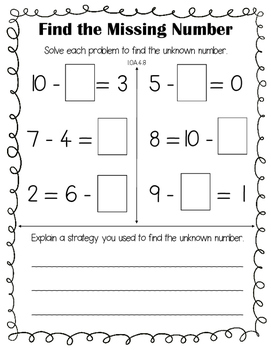 Finding an unknown number (subtraction)