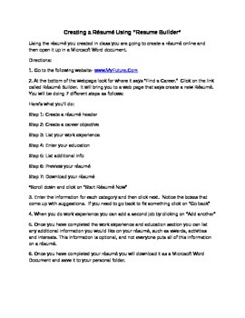 Résumés- Creating a Résumé Using an Online Résumé Builder (MyFuture.Com)