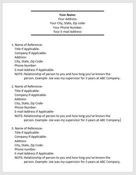 job application personal references