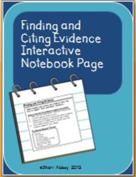 Finding and Citing Evidence Interactive Notebook Page
