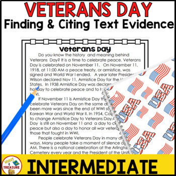 Veteran's Day Reading Passage- Finding and Citing Text Evidence