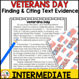 Veterans Day Reading Passage- Finding and Citing Text Evidence