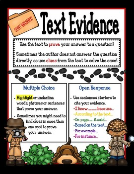 Finding and Citing Text Evidence Poster/Mini-Anchor Chart